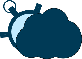 A cloud and a clock representing a cloud booking software