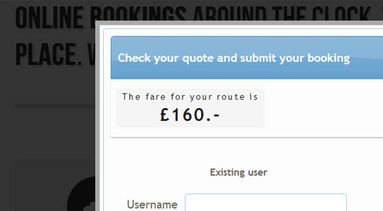 Shows the automatically calculated taxi fare, or quote, depending on distance of the route to be traveled.